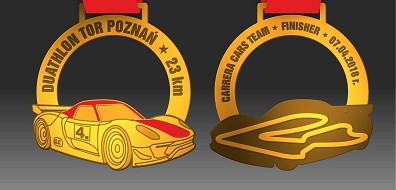Nasz Patronat. Wyścigowe Porsche na medalu Duathlon Tor Poznań!