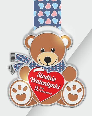 Nasz Patronat. Kultowy pluszowy miś bohaterem medalu 9. Biegu Czekoladowego – Słodkie Walentynki!